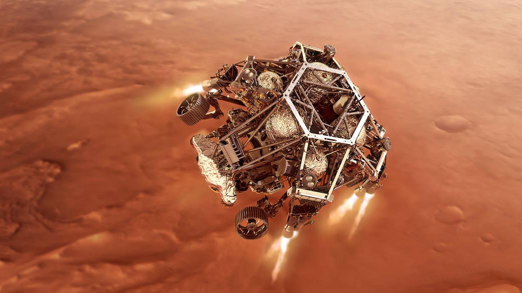 Simulación del descenso final de Perseverance. Créditos: NASA/JPL