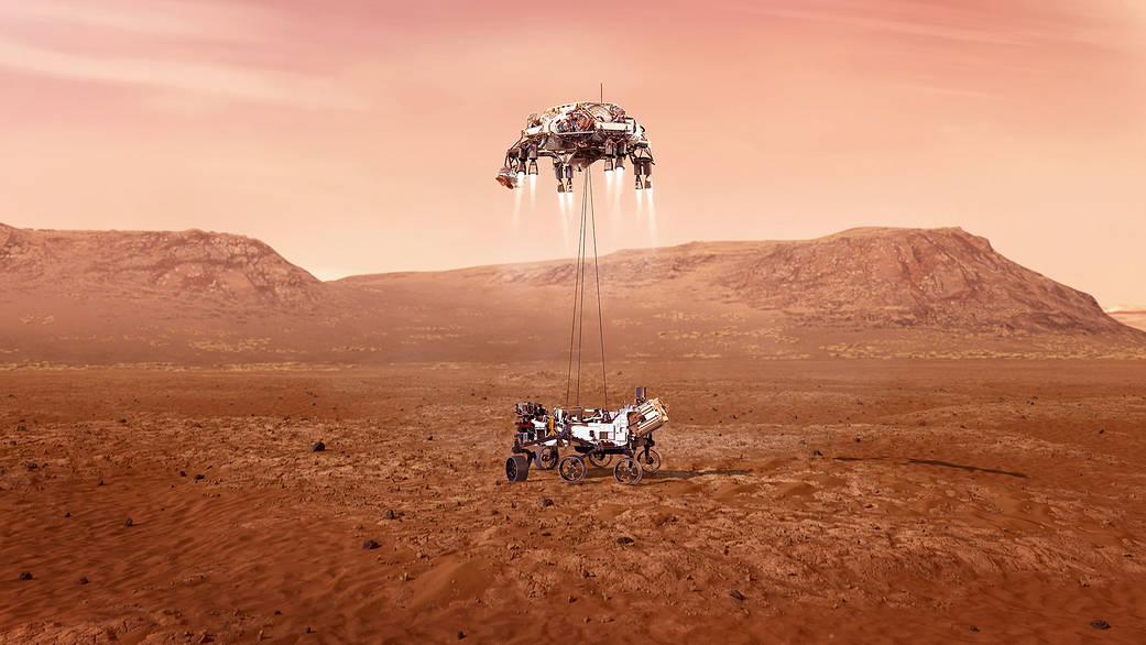 Simulación de la sky crane depositando a Perseverance en la superficie de Marte. Créditos: NASA /JPL