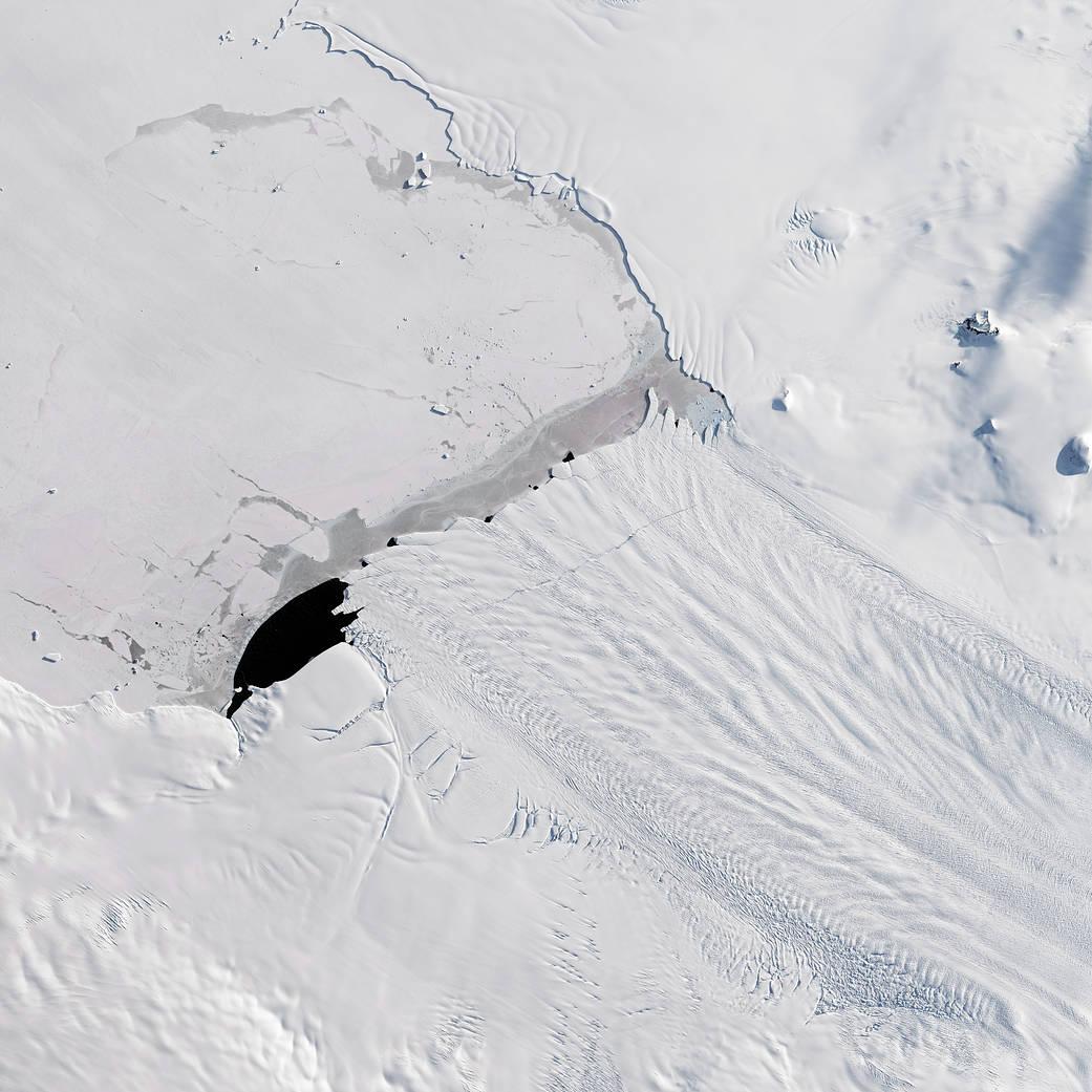 Satellite image of crack in glacier