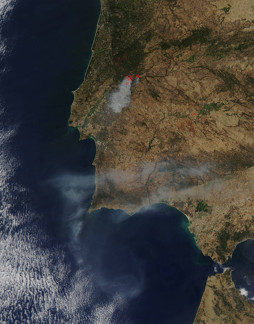 Aqua image of fires in Portugal