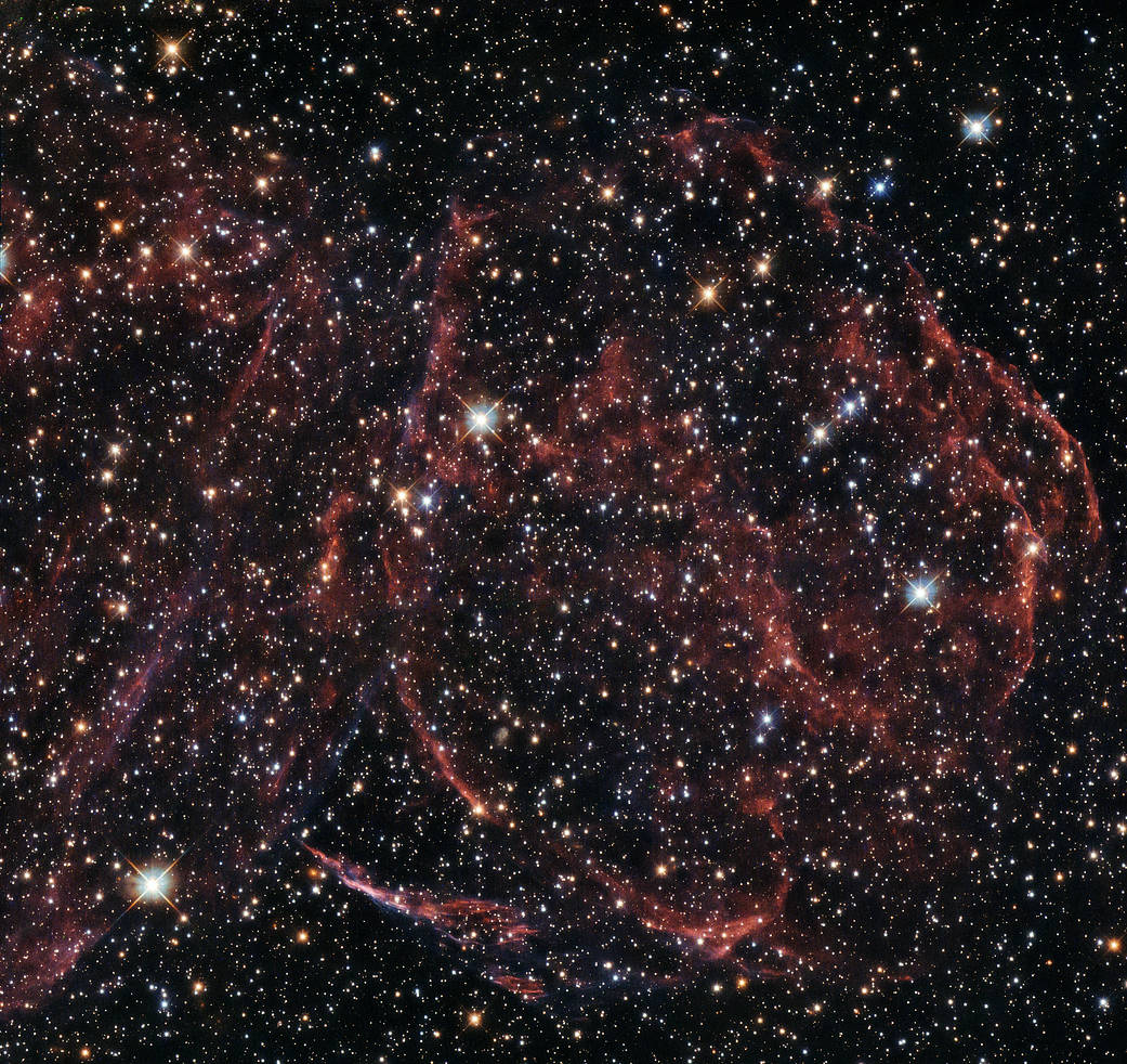 Hubble image of supernova remnant DEM L316A in Large Magellanic Cloud
