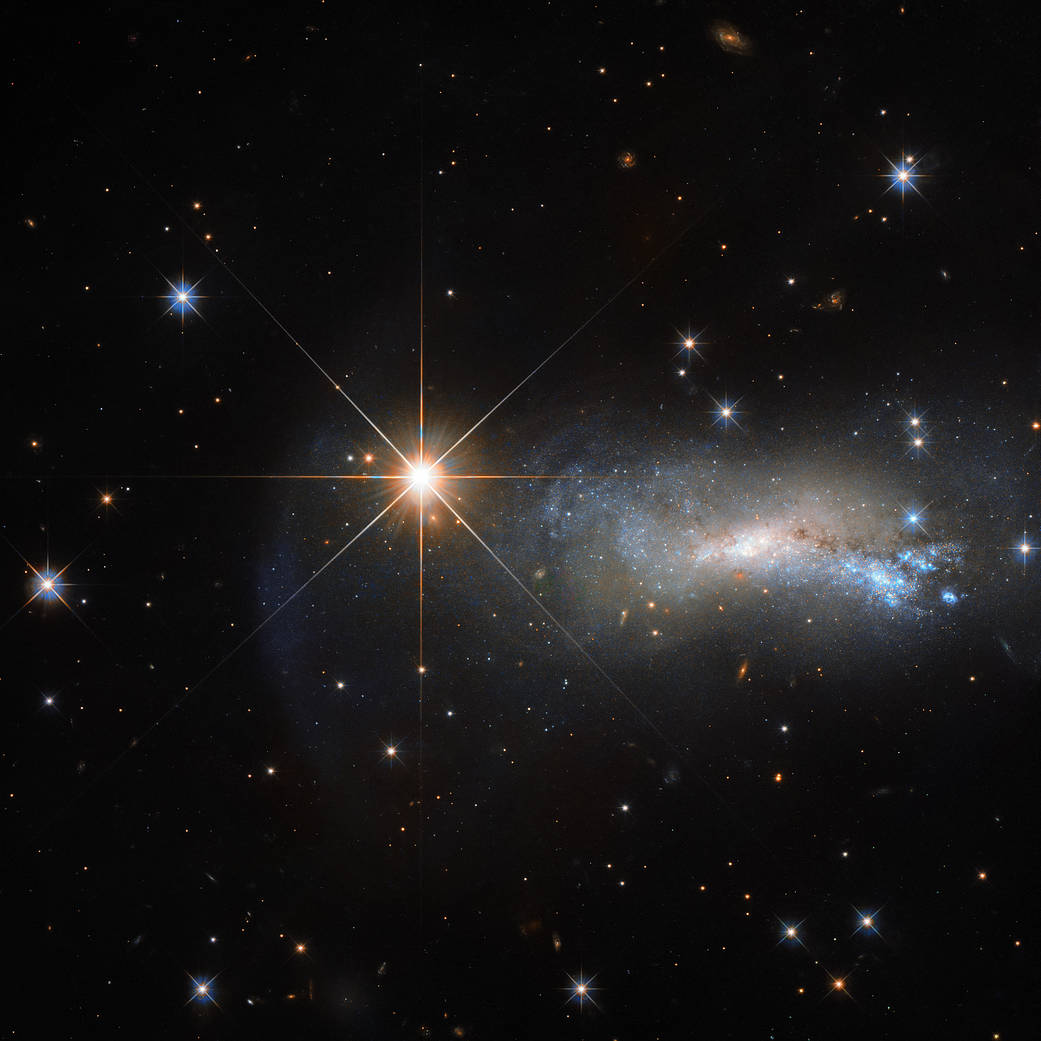 A bright star and a dimmer galaxy.