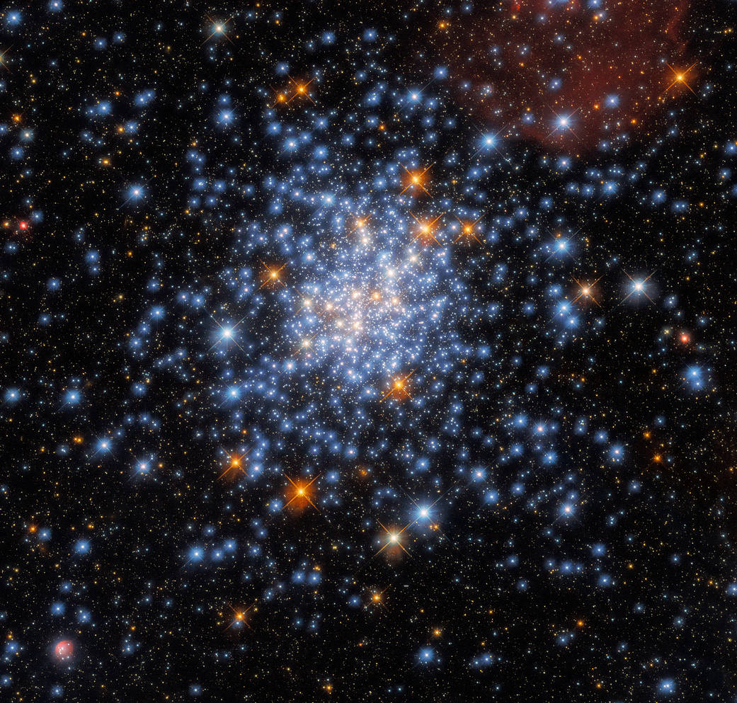 This image taken with the NASA/ESA Hubble Space Telescope depicts the open star cluster NGC 330, which lies around 180,000 light-years away inside the Small Magellanic Cloud.