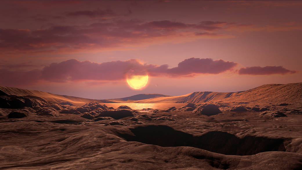 An illustration of what Kepler-1649c could look like from its surface.