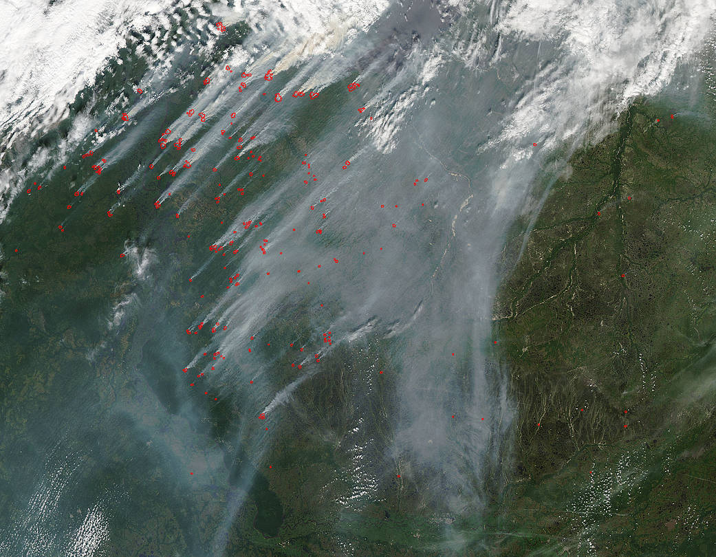 Aqua image of fires in Siberia