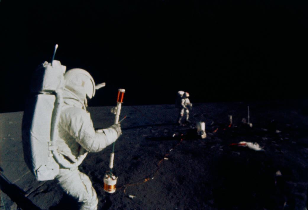 Astronaut Edgar D. Mitchell, lunar module pilot on a spacewalk on lunar surface