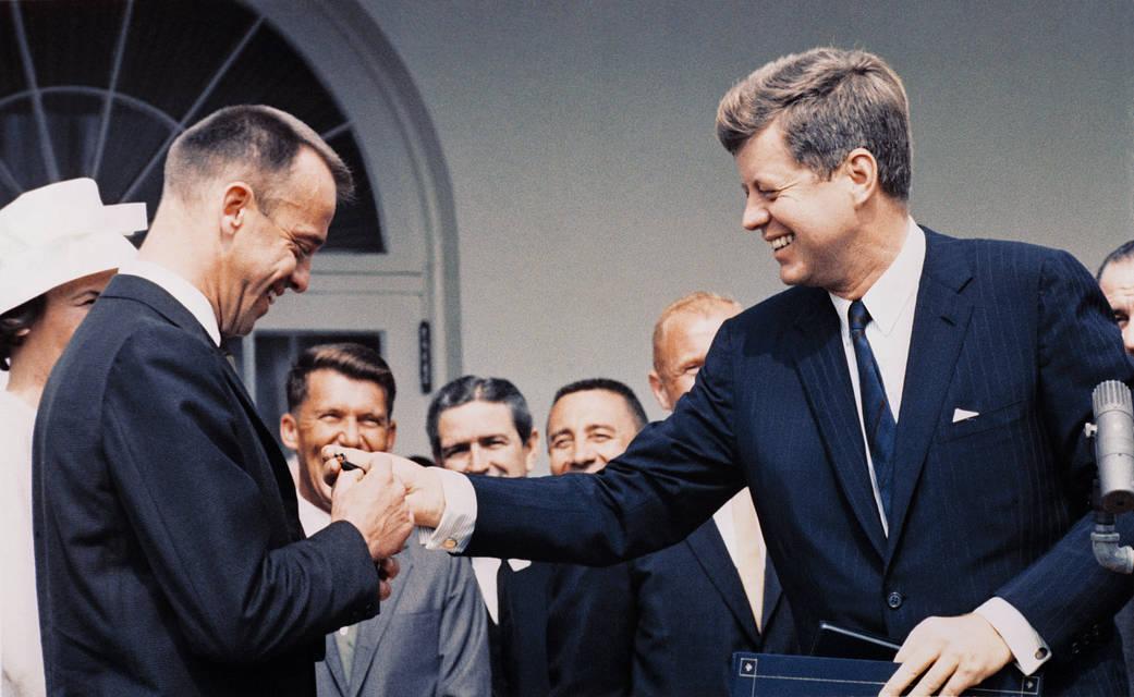 President Kennedy Awards Alan Shepard NASA's Distinguished Service Medal