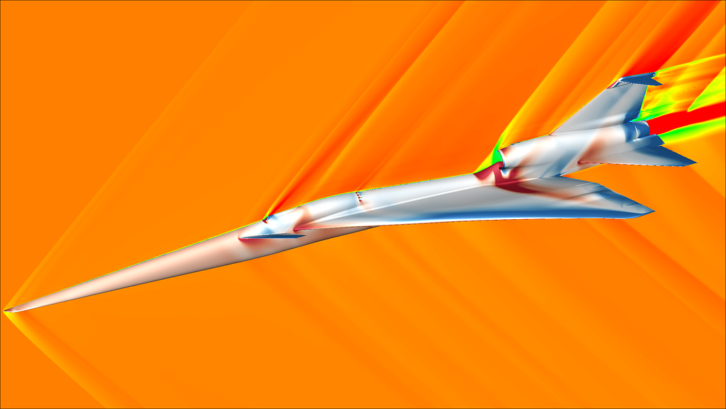 The image shows a moment from a computational fluid dynamics simulation of the X-59 aircraft concept during supersonic flight.