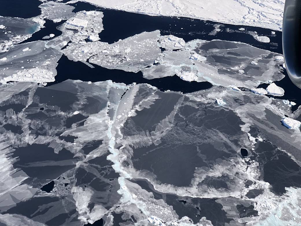 Sea ice forms in the open water between floes, called leads, in the Bellingshausen Sea. ICESat-2 is able to detect the thin sea