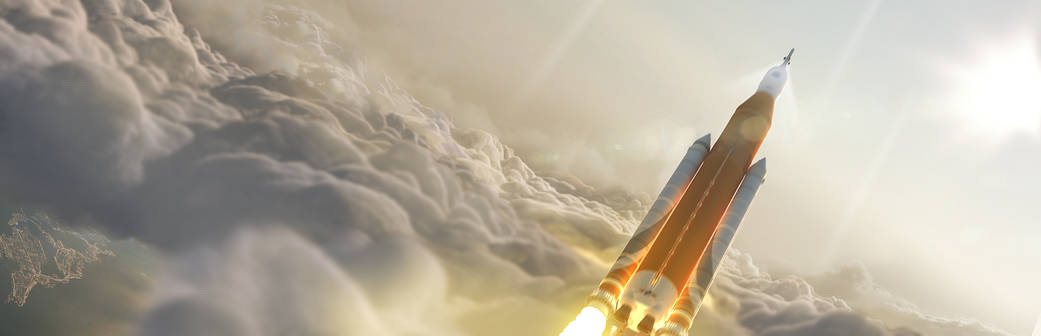 Artist concept of NASA's Space Launch System (SLS) 70-metric-ton configuration launching to space.
