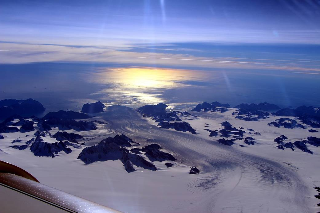 Sunglint on Greenland glacier