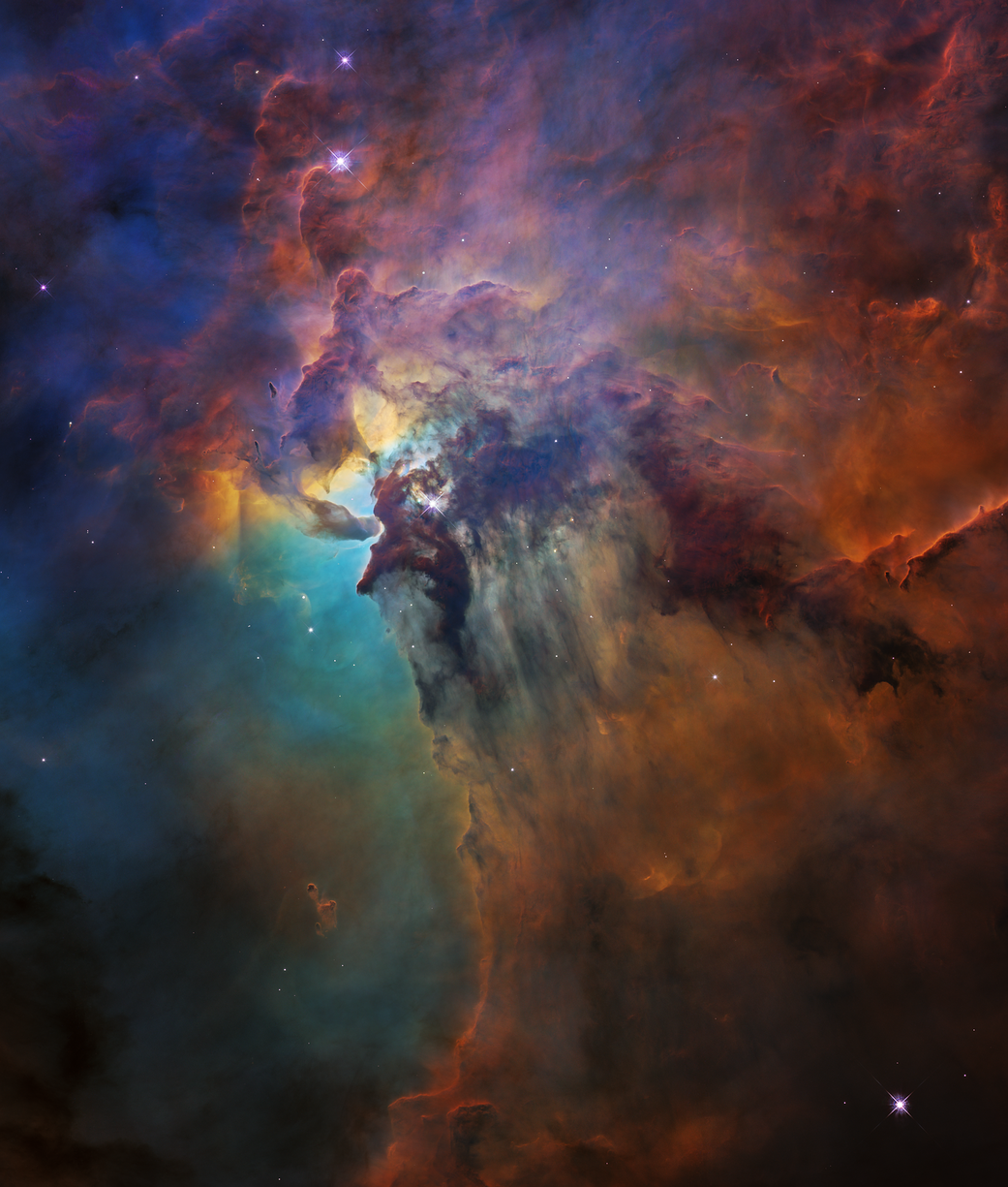 aqua, magenta, black, colorful clouds in space