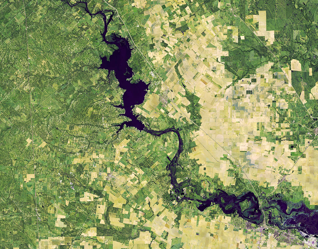 Tiny bright green plots of land torn through the middle by an overwhelming dark navy Nueces River