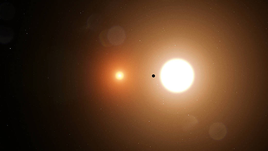 Illustration of a planet silhouetted by two suns