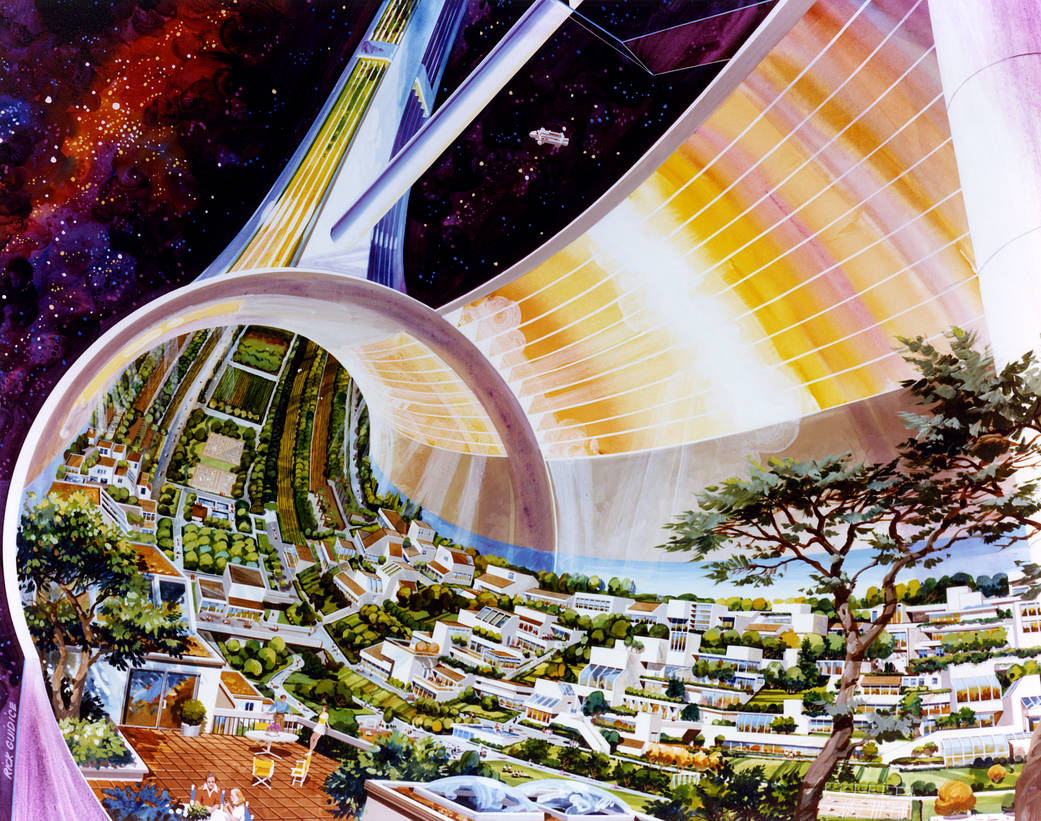 Artist's illustration showing cutaway of a doughnut-shaped space colony.