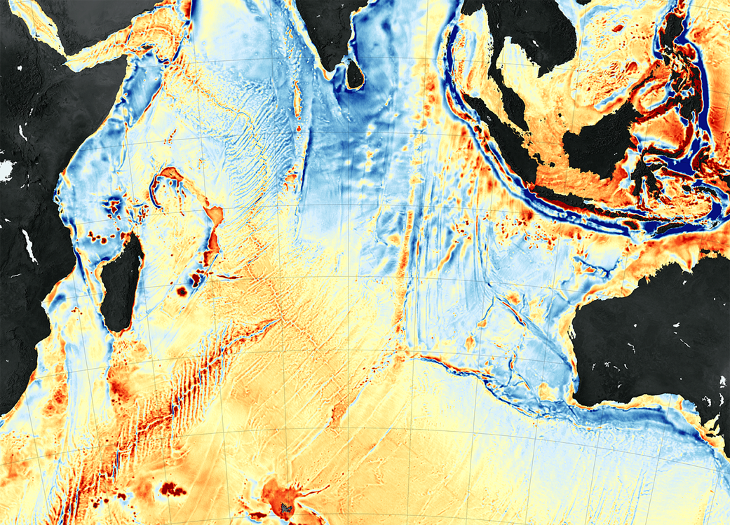 Seafloor map of western Indian Ocean with areas of stronger gravity highlighted