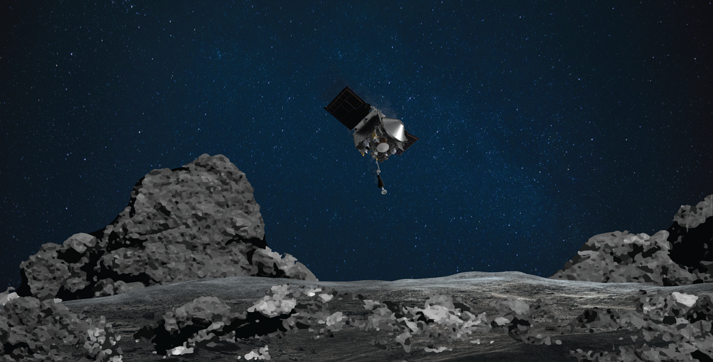 Osiris-Rex pousando no Asteroide Bennu [Foto: NASA/Goddard/University of Arizona]