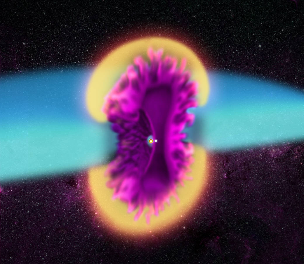 Illustration of outburst from the double star system V745 Sco.
