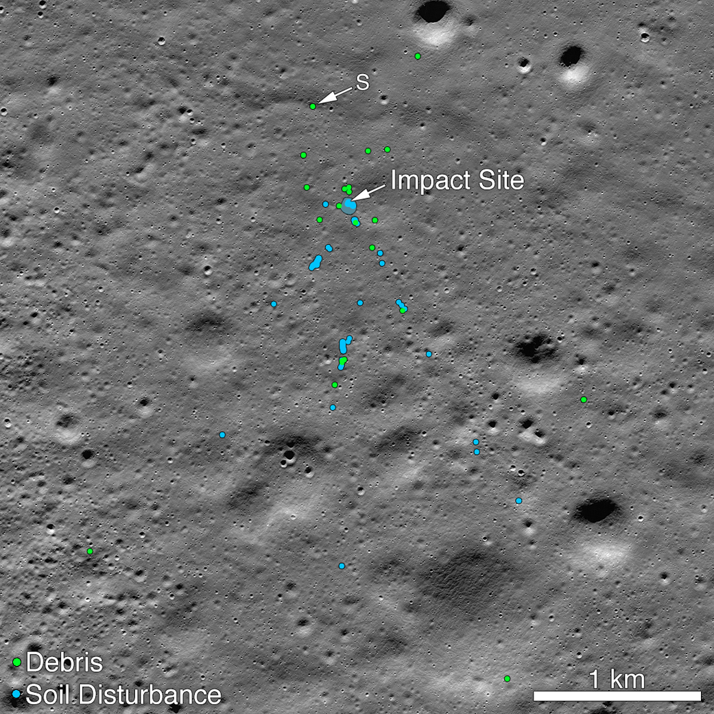 image of moon with blue and green dots