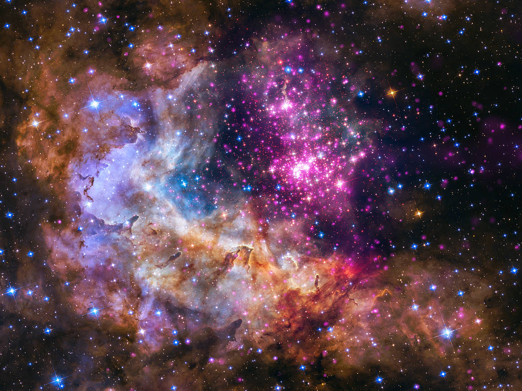 A cluster of young stars about 20,000 light-years from our planet. Credit: X-ray: NASA/CXC/SAO/Sejong Univ./Hur et al; Optical: NASA/STScI