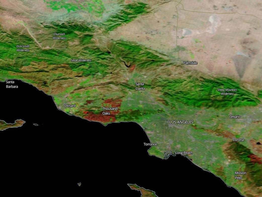 Terra image of the burn scar from the Woolsey fire