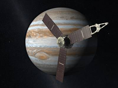 Artist's impression, Juno probe near Jupiter (NASA/JPL)