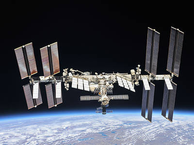 The ISS in low earth orbit (NASA/JPL)