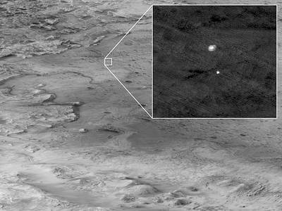 Image of the descent stage of the Mars Perseverance Rover as seen from the Mars Reconnaissance Orbiter