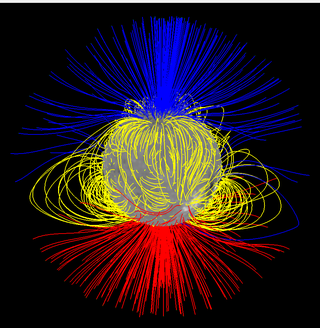 Computer model of the Sun's magnetic field showing open field near the North and South Poles and looped field near the middle