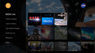 Screenshot of NASA app on the Amazon Fire TV