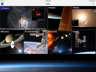 Screenshot of NASA app on iOS home screen