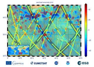 Os dados neste gráfico são as primeiras medições da altura da superfície do mar do satélite Sentinel-6 Michael Freilich (S6MF)
