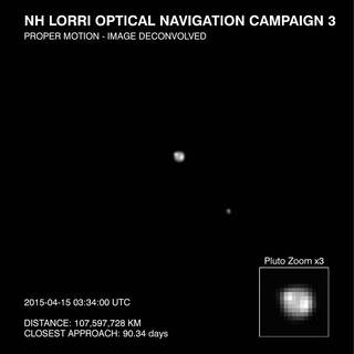 Pluto and its moon Charon, as imaged by New Horizons LORRI camera