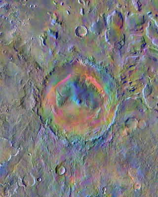 NASA Odyssey image of Gale Crater on Mars