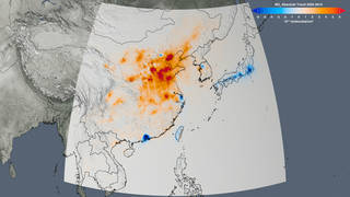 The trend map of East Asia shows the change in nitrogen dioxide concentrations