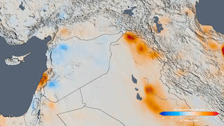 The trend map of the Middle East shows the change in nitrogen dioxide concentrations from 2005 to 2014.