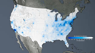 The trend map of the United States shows the large decreases in nitrogen dioxide concentrations tied to environmental regulation