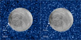 These composite images show a suspected plume of material erupting two years apart from the same location on Jupiter's icy moon