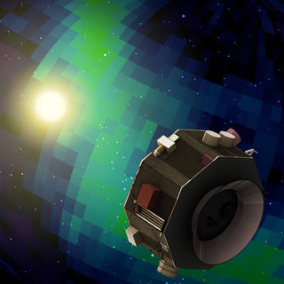 This illustration shows the Interstellar Mapping and Acceleration Probe observing signals from the interaction of the solar wind
