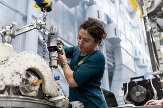ASA astronaut Jessica Meir trains inside the Space Vehicle Mockup Facility at NASAs Johnson Space Center.