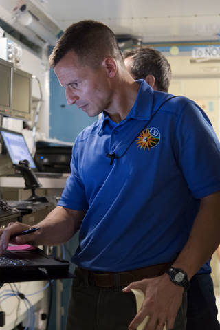 NASA astronaut Drew Morgan trains inside a mockup of the International Space Station at NASAs Johnson Space Center.