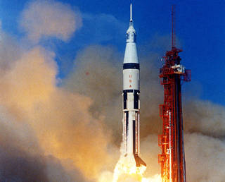 Apollo 7 lifts off from Cape Kennedy