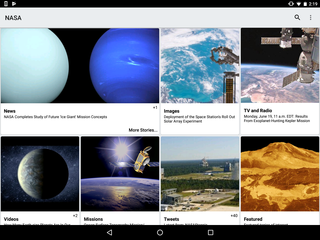 Screenshot of the NASA app on Android.