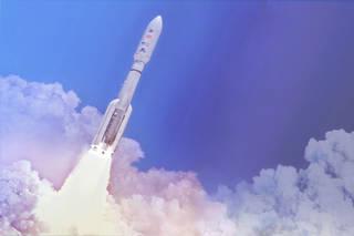 В концепции этого художника, двухступенчатая ракета-носитель United Launch Alliance Atlas V