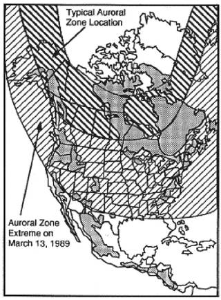 Power systems in areas of igneous rock (gray) are the most vulnerable to the effects of intense geomagnetic activity.