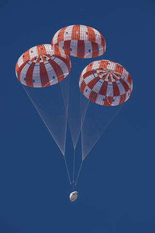 NASA is qualifying Orion's parachutes for missions with astronauts.