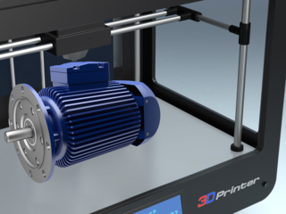 Artist concept of an electric engine being made by a 3-D printer.