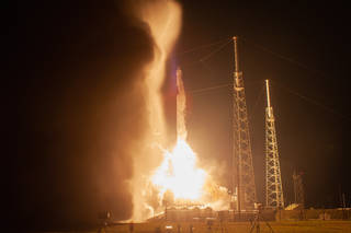 SpaceX Falcon 9 rocket and Dragon cargo craft launches from Space Launch Complex 40