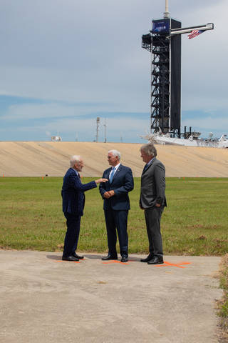 Vice President Mike Pence, Buzz Aldrin and Mike Armstrong