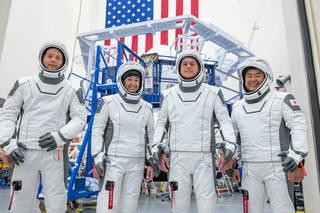 Crew-2 members in a photo op